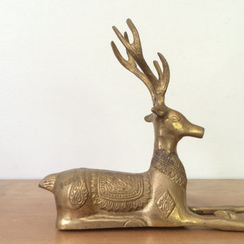 Mid Century Brass Reindeer Figurine with Patterned Saddle