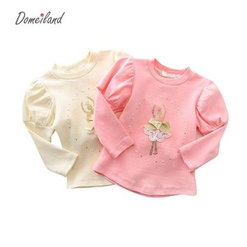 2017 spring fashion brand Domeiland lace children clothing for cute kids girls Ballet cotton ruffle bottoming Princess T shirt