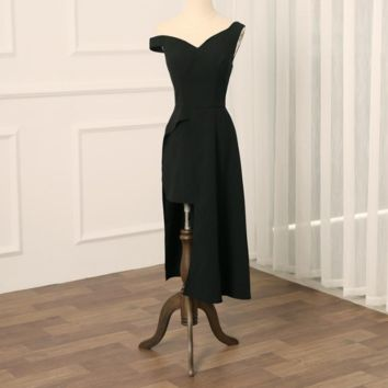 Black Homecoming Dresses Tea-Length Sheath Cocktail Dress Gowns for Party
