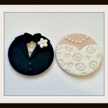 Bride & Groom Fondant Cupcake Toppers. White Flower. Set of 12 (1 dozen)