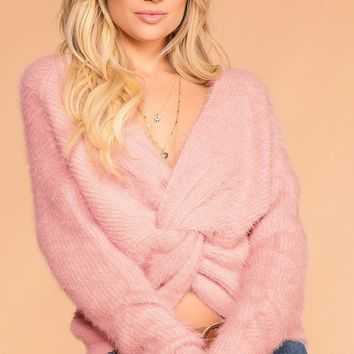 Kaitlyn Mauve Fuzzy Twist Back Sweater