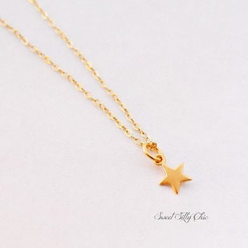 Tiny Gold Star Necklace in Gold Plated Sterling Silver, Short Tiny Star Charm Necklace, Celestial Jewelry