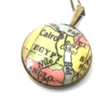 Egypt Vintage Map Small Pendant