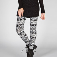 Full Tilt Diamond Ethnic Print Womens Leggings Black/Grey  In Sizes