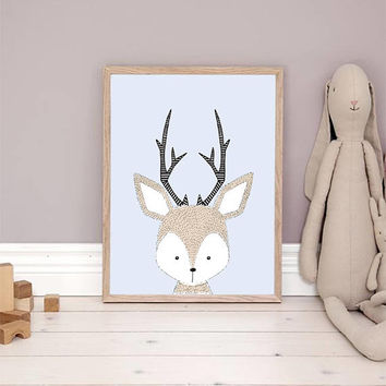 Deer Print, Cute Deer, Deer Wall Art, Deer Illustration, Nursery Forest Animals, Animal print, Woodland animals, Kids Room Decor, 11x14