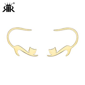 RIR Hypoallergenic Gold Cat Stud Earrings Jewellery In Stainless Steel with High Polish Finished Best Gifts For Animal Lovers