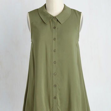 Supported Scientist Top in Thyme | Mod Retro Vintage Short Sleeve Shirts | ModCloth.com