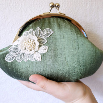 Fern green clutch, small clutch purse wristlet, green silk clutch with ivory lace flower, personalized clutch,