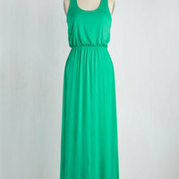 Minimal Long Tank top (2 thick straps) Maxi Breezy Night Stroll Dress in Green