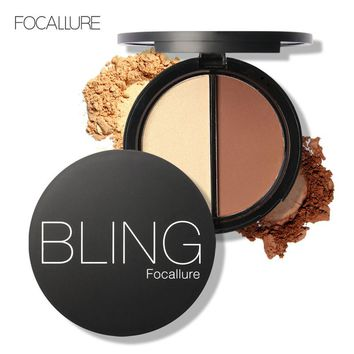 FOCALLURE Pressed Powder Brand Bronzer & Highlighter Powder Makeup Palette Base Contour Powder Highlighter Bronzer 3Colors Powde