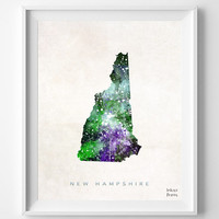 New Hampshire Map, Concord Poster, Painting, Watercolor, Nursery, Room, Home Town, Wall Art, USA, State, United States, Decor, Gift [NO 365]