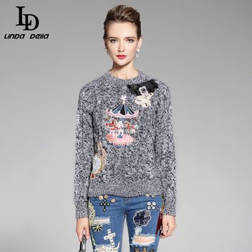 High Quality 2016 Autumn Winter knitting Sweater  Runway Designer Women Tops Embroidery Beading warm Pullovers Sweater