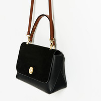 CITY BAG WITH SPLIT SUEDE FLAP AND DETAIL DETAILS