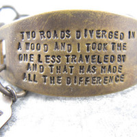 The Road Less Traveled Robert Frost Quote hand by CobwebCorner