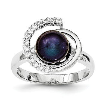 Sterling Silver w/CZ 8-9mm FW Cultured Black Button Pearl Ring