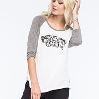 Vans Vintage Floral Womens Baseball Tee White/Grey  In Sizes