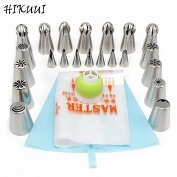22Pc/Set Icing Piping Nozzles Sphere Ball Russian Nozzle Metal Stainless Steel Pastry Tips Cake Decorators For Kitchen Baking