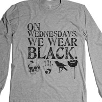 On Wednesdays, We Wear Black 2-Unisex Heather Grey T-Shirt