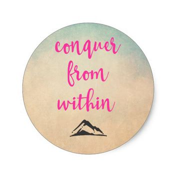 Inspirational Typography Quote on Determination Classic Round Sticker