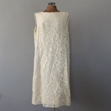 Vintage 1960s Wedding Dress Ivory White Short Babydoll Dress Lace Smock Dress Mod Mini Wedding Dress Size Large Prom Dress Simple Tent Dress