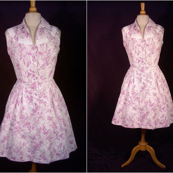 Vintage Dress - 1940s/ 1950s Lilac Cotton Shirtwaist Dress - Regulated Cotton Never Misbehaves - For Size Med Rockabilly Missies