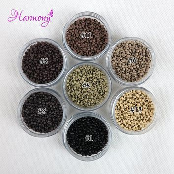 1000pcs/jar 2.5mm Copper Nano micro beads/rings/links for Nano hair Extenstion 7 color optional