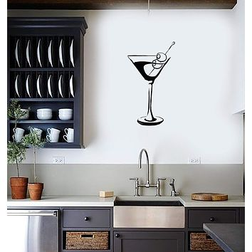 Vinyl Decal Wall Sticker Martini Glass Wine Alcohol Bar Decor Unique Gift (g091)