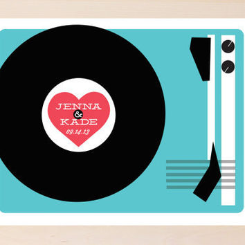 Record Player Wedding poster/ Guest Book Poster by yesdearstudio