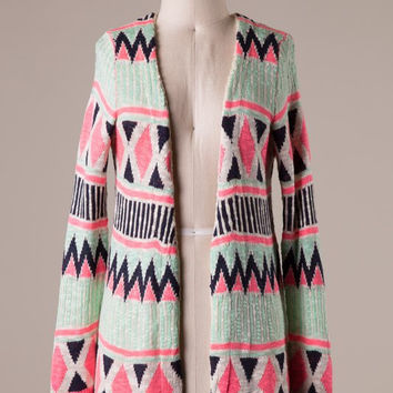 Neon Pink and Soft Mint Cardigan