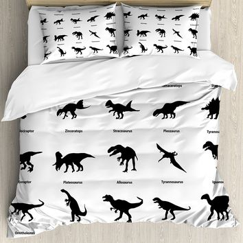 Dinosaur Duvet Cover Set Skull Illustration With Text Rawr In A Bubble Big Jaw Sopping Head 4 Piece Bedding Set Lime Modern And Elegant In Fashion Home & Garden