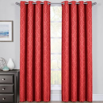 Red Set of 2 Hilton Blackout Curtain Panels Jacquard Thermal Insulated Pairs