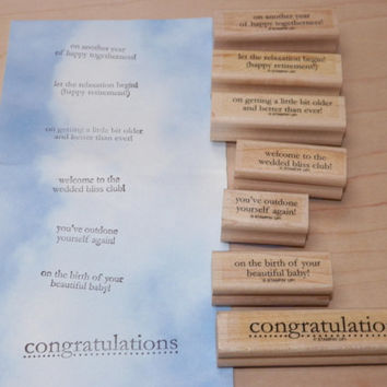 Stampin Up Congrats Wood Block Stamp Set of 7