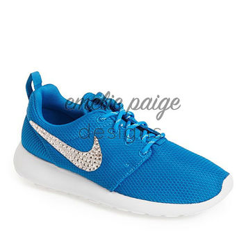 Nike Roshe Run (Blue) running shoes with Swarovski Crystals