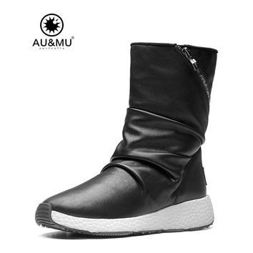 2017 AUMU Australia Women Fashion Waterproof Sheepskin Leather Fur Zppier Suede Mid Calf Winter Snow Boots UG NY511