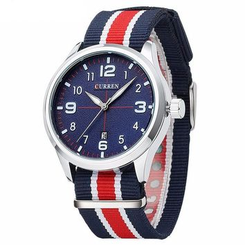 Men's Casual Quartz Fabric Strap Wristwatch