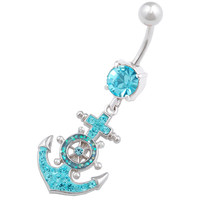 Maritime Bling Anchor Dangle Aquamarine Crystal Belly Button Ring For Girls [Gauge: 14G - 1.6mm / Length: 10mm] 316L Surgical Steel & Crystal