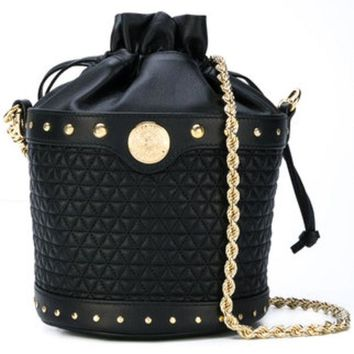 DCCKIN3 Balmain Quilted Bucket Shoulder Bag