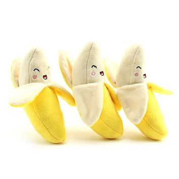 1pcs New Cute Dog Chew Toys Banana Designs Pet Puppy Squeak Plush Sound Toy For Small Large Dogs Pet Supplies Dog Accessories