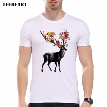 New Spring Itself Deer Floral Printed Men's Casual T-shirt Male Summer Hipster Vintage Tops Tee