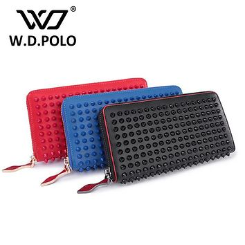 WDPOLO New color rock stud women genuine leather wallet high chic brand design lady standard wallets easy clutch hand bagM2322