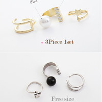 A Set Fashion Women Silver Crystal Ring Wedding Engagement Gift Jewelry = 5988120577
