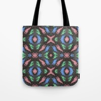 Colorful Confetti Pattern on Black Tote Bag by Bright Vibes Design