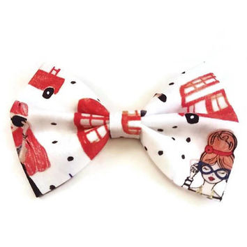 Cool Girl Bow • Girls Polkadot bow • London hair bow • Italy hair bow • Paris hair bow • Christmas Gift • Gifts under 5 • Stocking Stuffers