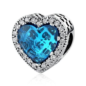 925 Sterling Silver Jewelry Radiant Hearts Beads Charms Fit Bracelets Women 4 Color Stone Valentine's Day Gift PSC054