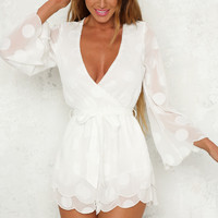 Spaceships Playsuit White