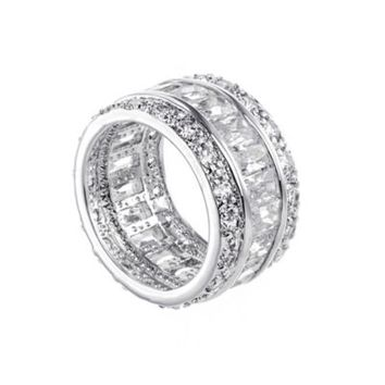 CZ by Kenneth Jay Lane Round- and Emerald-Cut Cubic Zirconia Size 7 Eternity Band