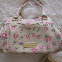Lot Betsey Johnson handbag bag bow pink roses floral designer ivory shoulder hot