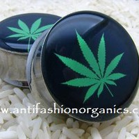Marijuana Pot Leaf Plugs [Marijuana Pot Leaf Plugs gauges] - $19.95 : AntiFashion Organics - Organic Wood Plugs and Tunnels, Featuring Resin Picture Plugs Gauges, AntiFashion Organics - Organic Wood Plugs and Tunnels, Featuring Resin Picture Plugs Gauges