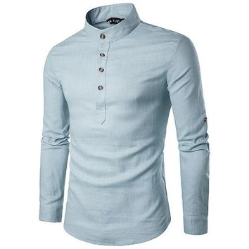 9f52dedc3d15 Mens Linen Chinese Collar T-shirt Buttons Breathable Long Sleeve