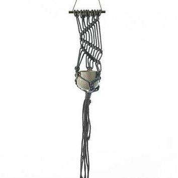 "Decorative Macrame Plant Hanger in Grey60"" Long x 10"" Wide"